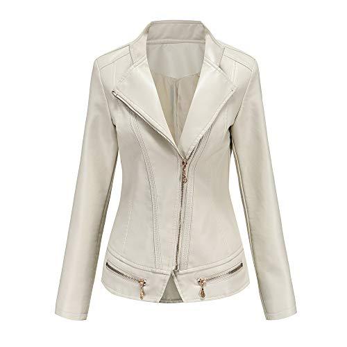 Chaquetas de cuero para mujer, chaqueta de piel sintética clásica con cremallera para motociclista, chaqueta vintage