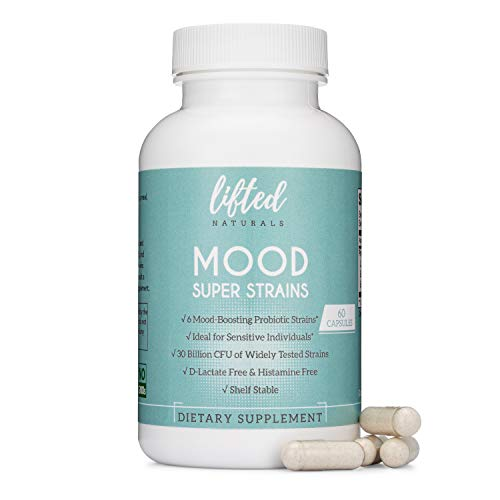 Probiotics - Mood Super Strains Probiotic - Naturally Supports Digestion & Emotional Health - Histamine-Free Probiotics w/ L Rhamnosus GG, 60 Day Supply, Non-GMO, Dairy-Free, Gluten-Free, Vegan