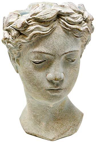 Pflanztopf Büste Valo, Keramik, grau, 21 cm, Blumentopf Antik Design Frauenkopf