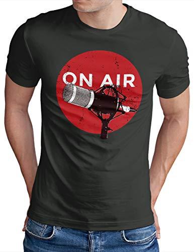 OM3® ON-AIR T-Shirt   Herren   Microphone Podcast Radio TV Music Studio   Dark Grey, S