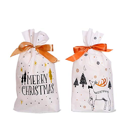 J TOHLO 50pcs Bolsas navideñas con cordón Bolsas de Regalos Navidad Regalo Navidad Bolsas Plastico bolsa de dulces para Navidad cumpleaños Caramelos Dulces Galletas (Redondo)