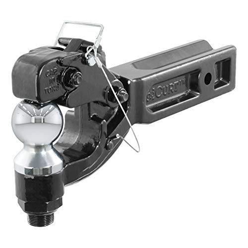 CURT 48012 Pintle Hitch with 2-5/16-Inch Trailer Ball, Fits 2-1/2-Inch Receiver, 20,000 lbs, 15-Inch Length, Black