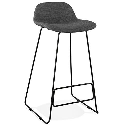 Alterego Tabouret de Bar Design 'MOSKOW' Noir Style Industriel avec Pieds en métal Noir