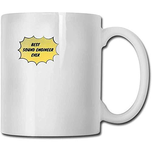Taza de regalo de café y té El mejor ingeniero de sonido Taza de cerámica Taza de bricolaje El mejor regalo para la familia, amigo, maestro 11 oz