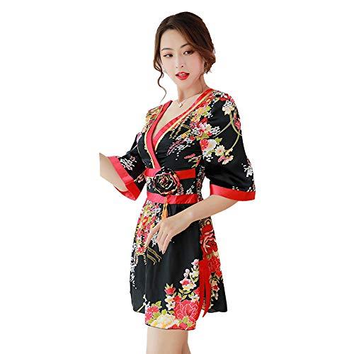 Women's Front Wrap Kimono Short Dress Blossom Print Deep V Neck Half Sleeve Bathrobe Uniform Club Wear (L, 724# Black)