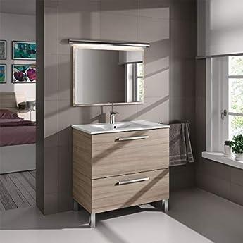 Foto di MarinelliGroup Mobile Bagno 80 cm con lavabo in Ceramica e Specchio con cassetti Rovere Chiaro Vandelia