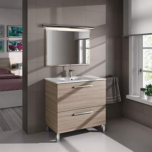 MarinelliGroup Mobile Bagno 80 cm con lavabo in Ceramica e Specchio con cassetti Rovere Chiaro Vandelia
