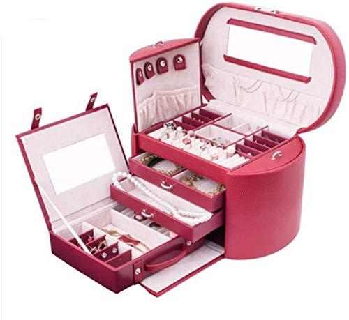 ZGYQGOO Große PU-Leder Schmuck Aufbewahrungsbox Hochzeitsgeschenke/Fall/Lagerung (Rotwein)