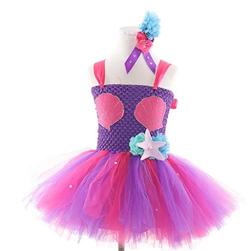 Kinderkleidung Tanz-Kostüm Meerjungfrau Ballett Halloween-Geburtstags-Party Kult Prinzessin Kostüm (Color : Purple, Size : 150)