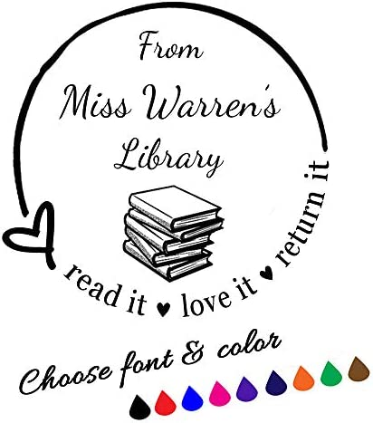 Book Library Stamp Personalized Teacher Stamp Custom Self Inking Stamp from The Library of Stamp product image