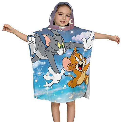 Tom And Jerry Star Chase - Toalla con capucha para niños, toalla absorbente, toalla de playa, con capucha para niños y niñas