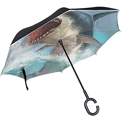 Umgekehrter Regenschirm Amazing Shark Reverse Umbrella UV-Schutz Winddicht für Auto Regen Sun Outdoor Schwarz