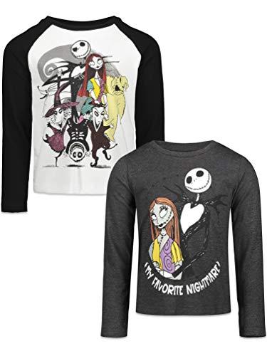 Disney Nightmare Before Christmas Toddler Girls 2 Pack Long Sleeve T-Shirts Black/Grey 4T