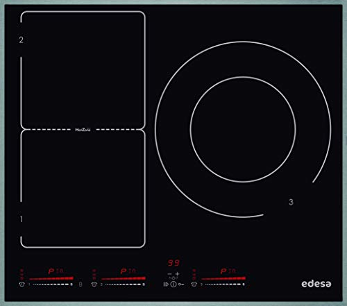 EDESA - Placa de inducción , Modelo: EIM-6330 HT A , Vitrocerámica con Tres fogones , Marco de Aluminio, 3000 W, Vidrio