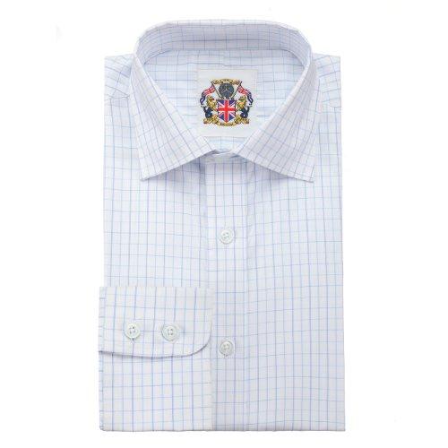 Janeo Men's Shirts Chemise à Manches Longues Classique Manchettes Simples ou Doubles Moka, Gris ou Bleu. Facile d'entretien, Prix Attractif et Emballa