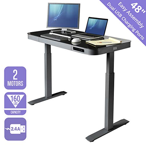 Seville Classics AIRLIFT Tempered Glass Electric Standing Desk with Drawer, 2.4A USB Ports, 3 Memory...