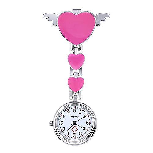 XVCHQIN Reloj de Enfermera para Mujer, portátil, de Acero Inoxidable, para Mujer, Lindo Amor, corazón, Cuarzo, con Broche, Reloj de Enfermera, médico, Reloj médico, Rosa