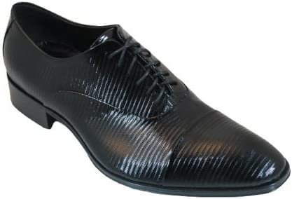 Joe Ghost 1273 Men's Italian Dressy Lace Up Oxford Shoes Black