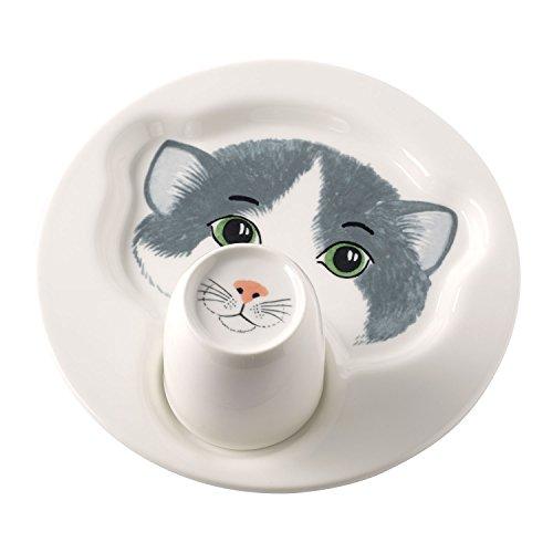 Villeroy & Boch Animal Friends Juego de Mesa Infantil con Motivos de Gato, 2 Piezas, Porcelana Premium, Blanco/Gris