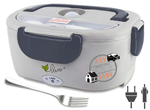 VOVOIR Electric Heating Lunch Box 110V/12V 2 in 1 Portable Food Warmer Lunch Heater for Car Home Office with Removable Stainless Steel Food Container (Dark Grey)