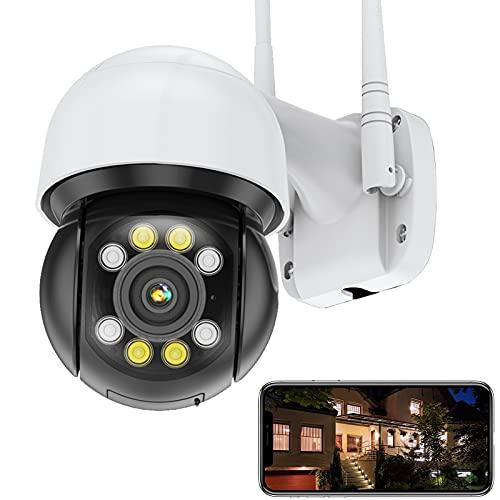 FHD 5MP WiFi IP Cámara de Vigilancia Exteriores PTZ Cámara ICSEE Seguimiento Automático Alarma por Voz Alerta de App Detección de Movimiento Impermeable IP66 Visión Nocturna (Cámara+Tarjeta-SD-32G)