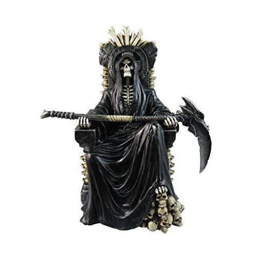 Sensenmann auf Knochenthron hält Sense 10 Zoll Statue - Tod Gothic Horror Sammlerstück - Skelett Figur Dekor - Fantasy-Schädel - DWK HD47341