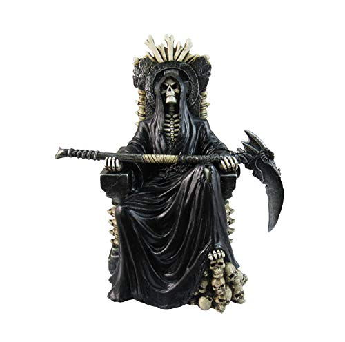 DWK HD47341 - Grim Reaper on Skeletal Bone Throne Holding Scythe 10 Inch Statue - Death Gothic Horror Resin Ornament - Hand Painted Fantasy Skeleton Undead Statue with Amazing Realistic Detail