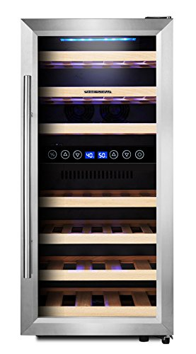 Phiestina Dual Zone Wine Cooler Refrigerator - 33 Bottle Free Standing Compressor Fridge and Chiller for Red and White Wines - 16'' Glass Door Wine Refrigerator with Digital Memory Temperature Control