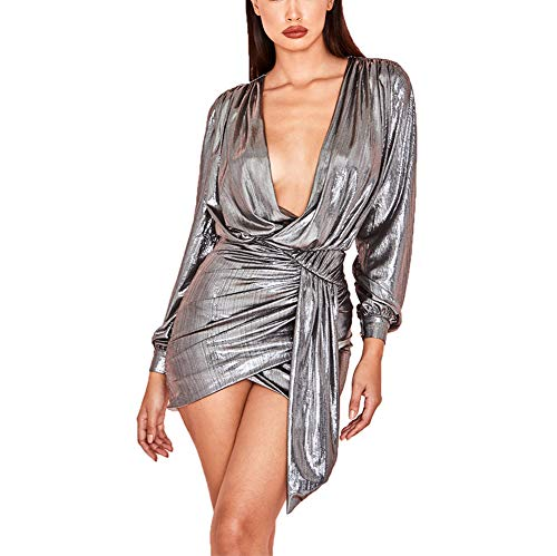 Ophestin Womens Sexy Deep V Neck Metallic Glitter Ruched Long Sleeve Party Dress Silver Size XL