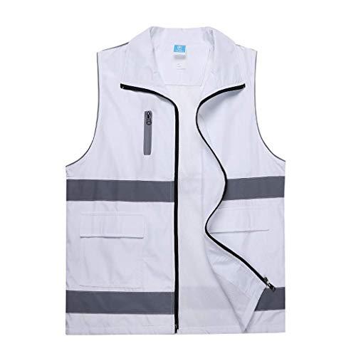 DBSCD Sicherheitsweste für Männer, Warnweste für Bequeme, atmungsaktive Arbeitskleidung Reflektierende Sicherheitsweste für Sicherheitswesten (Weiß, L)