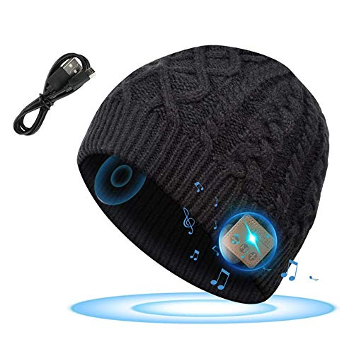 Rpanle Bonnet Bluetooth, Bonnet Homme Bluetooth 5.0, Bonnet Running avec Musique écouteur, Chapeau d'hiver Unisexe avec Stéréo HD Microphone Mains Libres pour Ski Randonnée Camping Vélo Noir