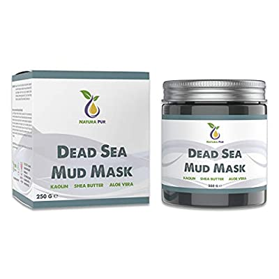 Natura Pur Dead Sea Mud Face Mask 250g, vegan - Anti pimples, blackhead mask, and acne - Anti-aging care for dry and impure skin - Mud Mask for face and body