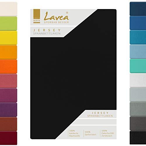 Lavea Jersey Spannbettlaken, Spannbetttuch, Serie Maya, 90x200cm | 100x200cm, Schwarz, 100% Baumwolle, hochwertige Verarbeitung, mit Gummizug