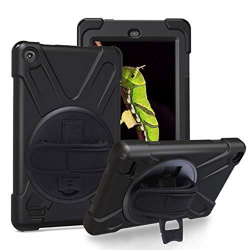 JZ Capa com suporte de 360 graus compatível com Amazon Kindle Fire HD 8 2017/2018 com alça de pulso e alça de ombro - preta