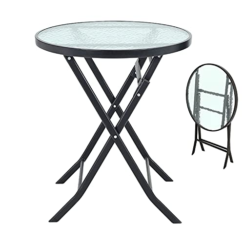 FUKEA Folding Garden Table Outdoor Dining Table Patio Coffee Table Camping Table Bistro Table with Tempered Water Wave Glass Top & Round Metal Frame 60x 60x70 CM