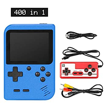 Sefitopher Handheld Game Console Retro Mini Game Player with 400 Classical FC Games 3-Inch Color Screen Support for Connecting TV & Two Players 1020mAh Rechargeable Battery Gift for Kids and Adult blue