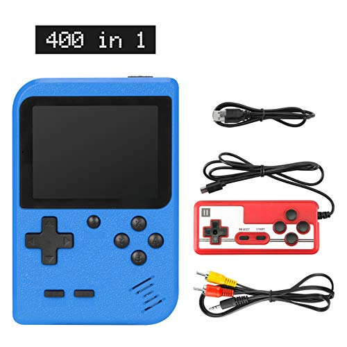 Sefitopher Handheld Game Console, Retro Mini Game Player with 400 Classical FC Games 3-Inch Color Screen Support for Connecting TV & Two Players 1020mAh Rechargeable Battery Gift for Kids and Adult(blue)