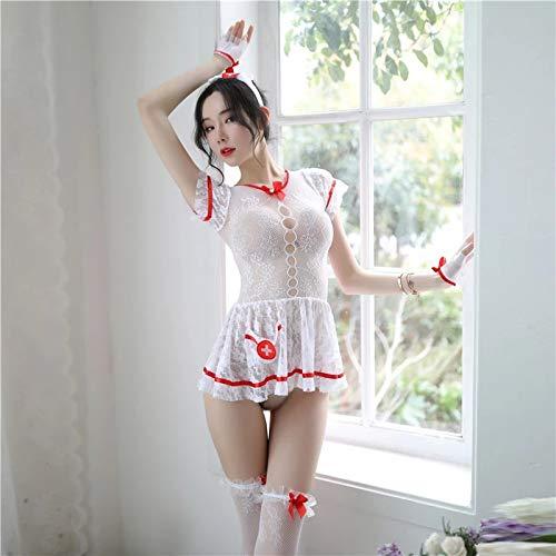 YINSHENG Disfraz de mucama Cosplay Girl Disfraz Travieso Ropa Interior de Fiesta Mujer Sexy Travieso Vestido Lindo Disfraz de Encaje Color pasin Enfermera Cosplay Disfraz de Enfermera Disfraz d