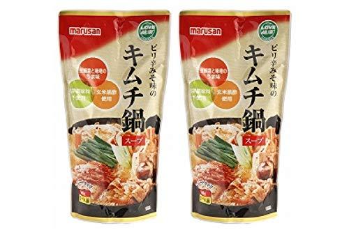 無添加 ピリ辛 みそ味の キムチ鍋 スープ 600g×2個 ★ コンパクト ★ 豆板醤の辛みとみその旨みをほどよい酸味の玄米黒酢で仕上げたストレートタイプのキムチ鍋スープです。3〜4人前。