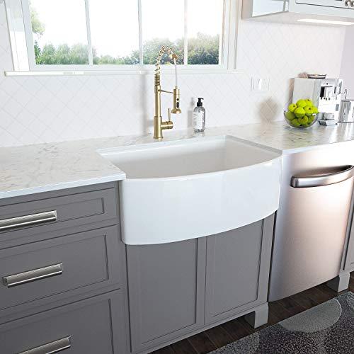 White Farmhouse Sink - Lordear 30 inch White Kitchen Sink Fireclay Ceramic Porcelain Arch Edge Apron Front Single Bowl Farm Kitchen Sinks