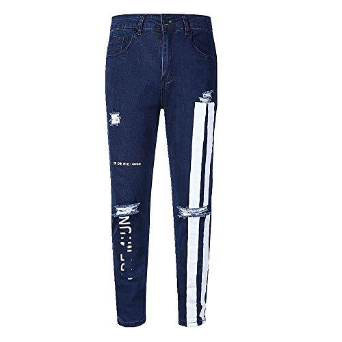 N\P Jeans de pierna elástica perforada para hombre