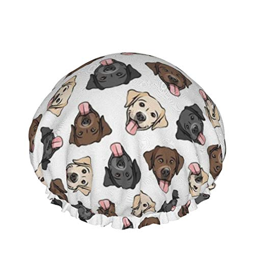 All The Labs Cute Happy Labrador Retriever - Gorros de ducha para perros - Gorro de baño elástico multiusos Gorros impermeables para el cabello para spa/salón/uso doméstico/hotel/viajes
