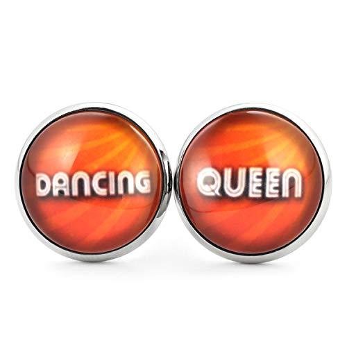 SCHMUCKZUCKER Damen Retro Ohrstecker Motiv Dancing Queen Lustige Edelstahl Ohrringe Silber Orange 14mm