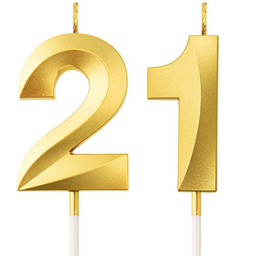 BBTO 21st Birthday Candles Cake Numeral Candles Happy Birthday Cake Topper Decoration for Birthday Party Wedding Anniversary Celebration Supplies (Gold)