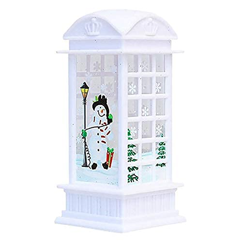 Christmas Lanterns Decorative Outdoor Indoor Illuminated Lights Battery Powered LED Decorative Light, Outside Telephone Booth Candle Hanging Flameless Lamp for Table Top Home Decor Party Props (C)