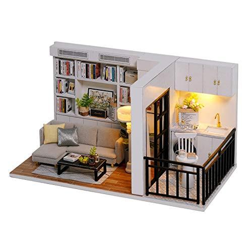 HomeDecTime Kit de Casa de Muñecas de Bricolaje para Adultos Miniaturas Casa de Construcción Modelo de Cabaña con LED