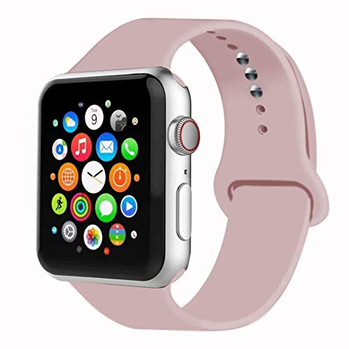 MOOLLY for Watch Band 38mm 40mm 42mm 44mm, Soft Silicone Watch Strap Replacement Sport Band Compatible with Watch Band Series 5/4/3/2/1 Sport & Edition (Vintage Rose, 40mm 38mm S/M)