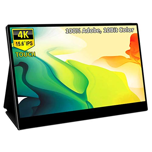 4K Portable Touchscreen Monitor,Corkea 15.6 Inch UHD 3840x2160 IPS Touch Display with USB C/HDMI,HDR,PD Charge,100% Adobe RGB 10 Bits Color,Speakers,Mountable, Indule Leather Cover