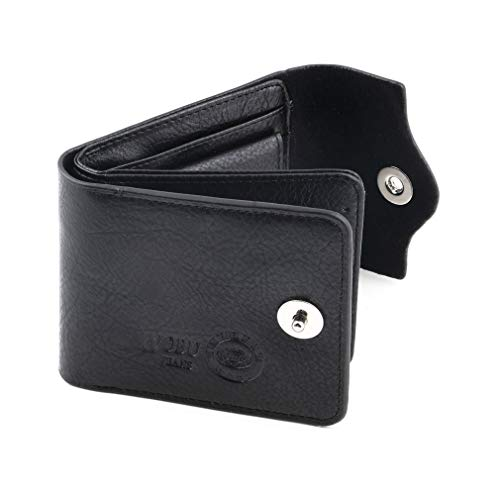 ASFD Regalo Hombre Cuero PU Tarjeta de crédito/identificación Cartera Plegable Titular Monedero Delgado Simple Suave Rígido Un Viento Fuerte 13 x 9,8 x 2 cm (Negro)
