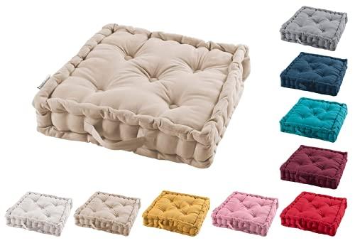 TIENDAEURASIA® Cojines de Suelo - 100% Algodón Lisa - Ideal para sillas, Bancos, palets, Suelos - Uso Interior y Exterior (Natural, 45 X 45 x 10 cm)